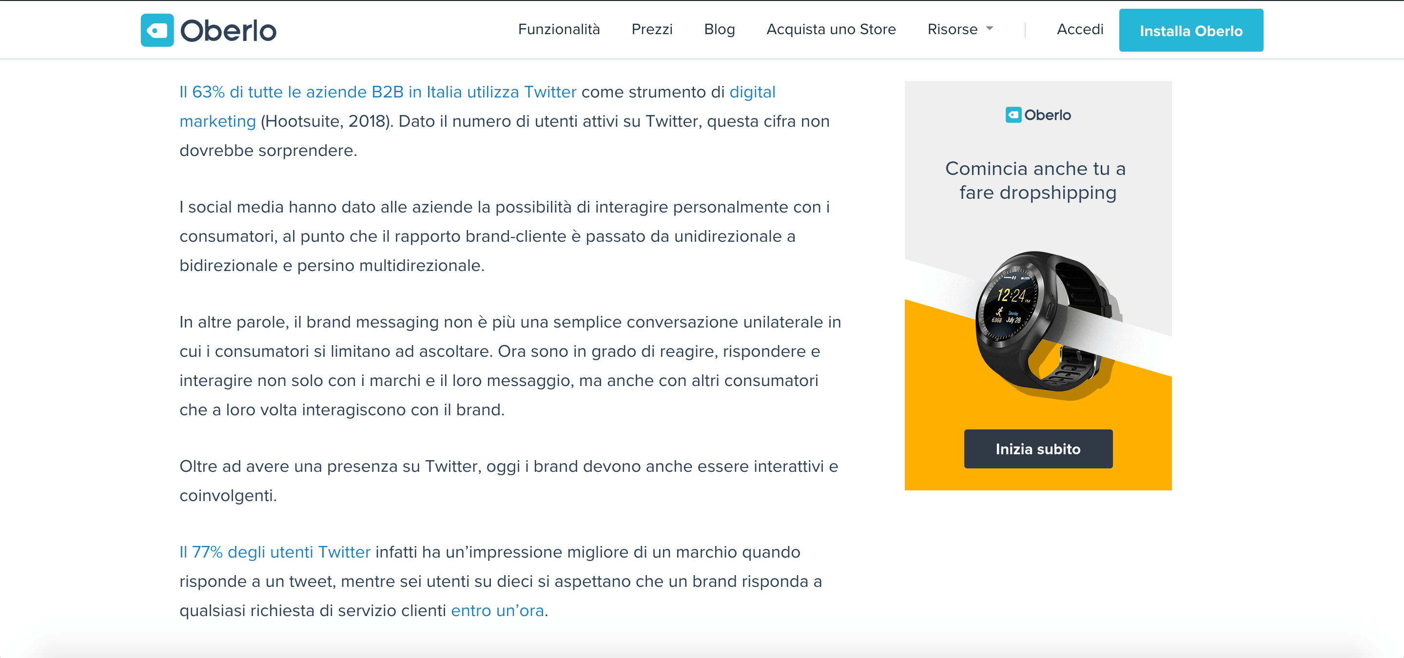 Oberlo twitter statistics italian translation marketing