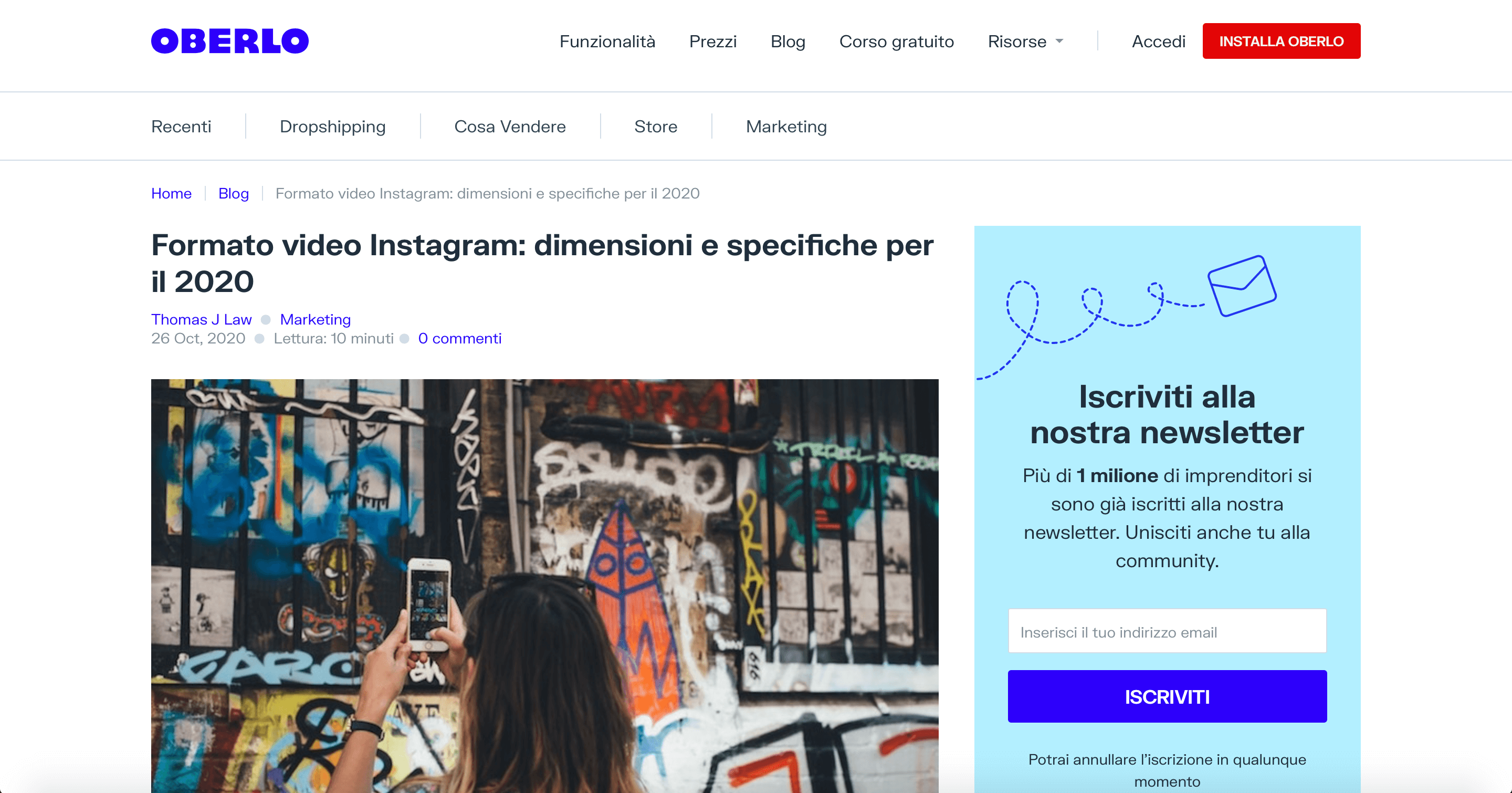 Oberlo (Shopify) - Instagram Video Format - Content Marketing