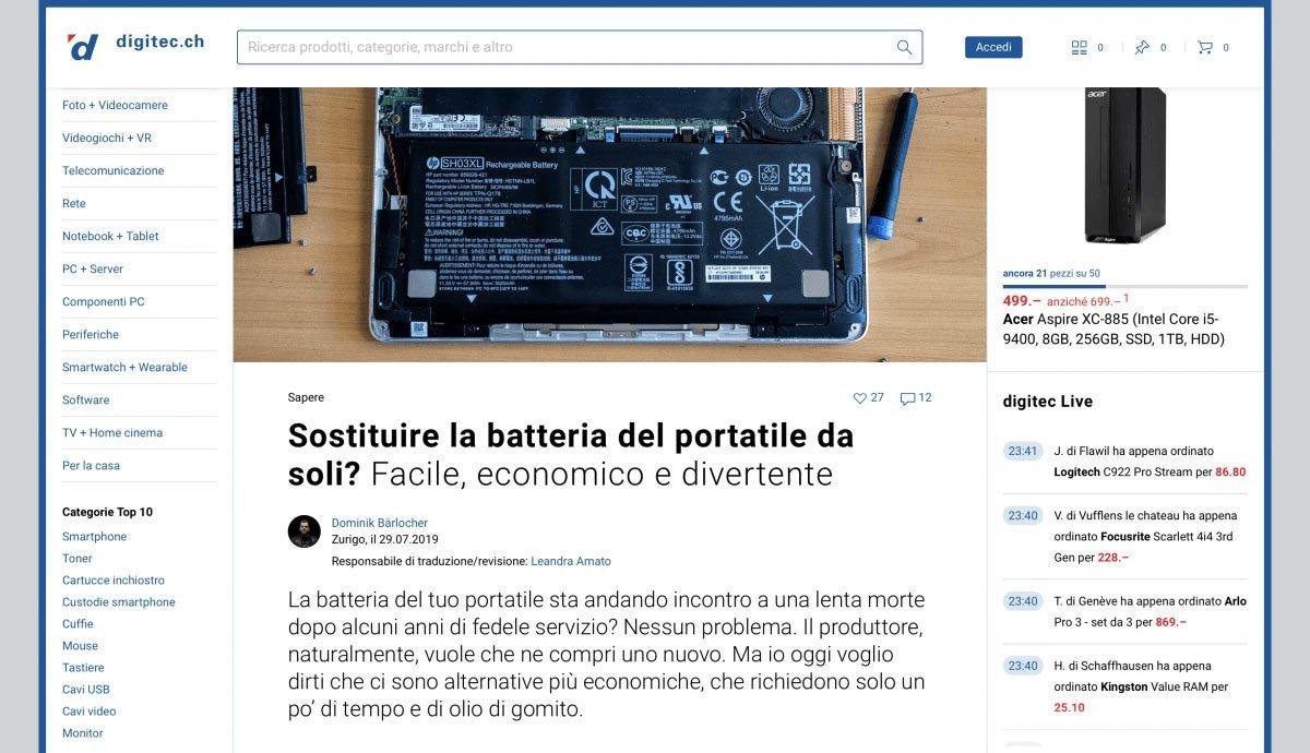 Swiss German to Swiss Italian   Digitec Galaxus   DYI Replace Laptop Battery