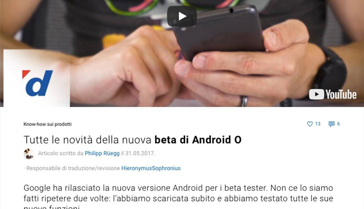Swiss German to Swiss Italian | Digitec Galaxus | Android O news