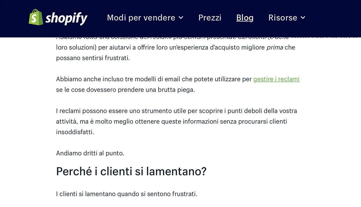 English to Italian | Shopify | e-commerce